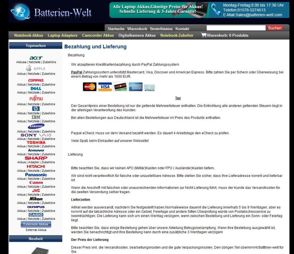www.batterien-welt.com verspricht enthaltene Mehrwertsteuer